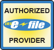 An e-file badge that says Authorized e-file provider