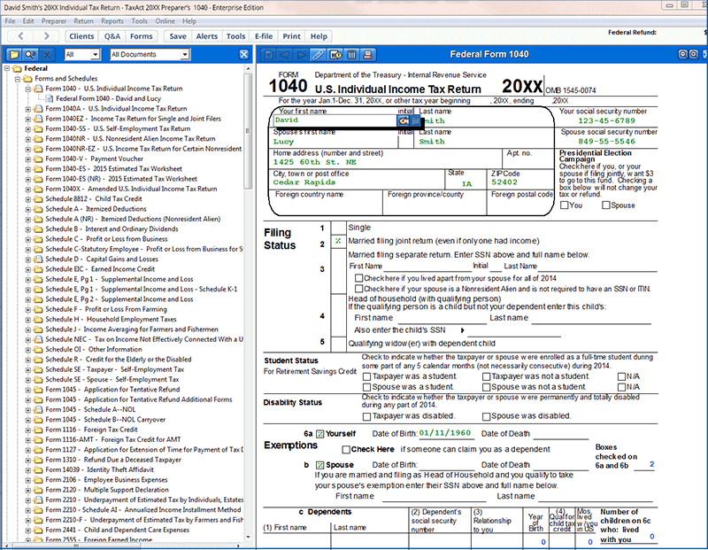 A view of Form 1040, US Individual Income Tax Return