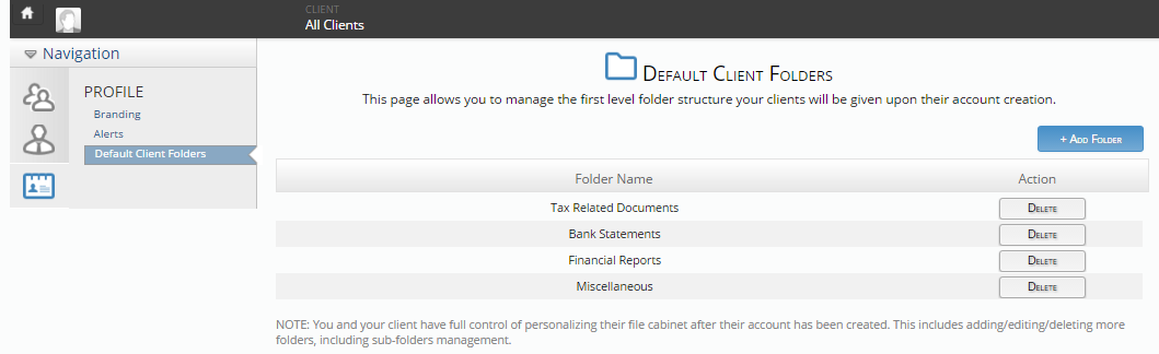 Xchange - Default Client Folder View
