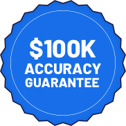 A badge showing $100k accuracy